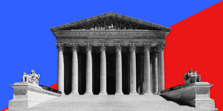 Image: The Supreme Court on a half blue, half red background.