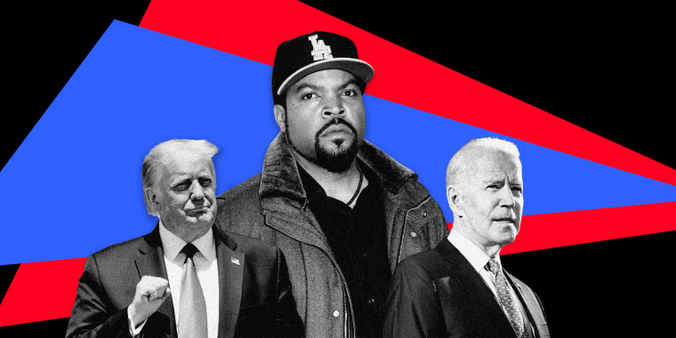 Image; Donald Trump, Ice Cube and Joe Biden on a background of red and blue triangles.