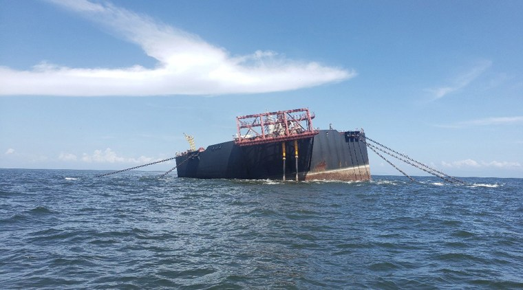 Image: The Nabarima floating storage and offloading (FSO) facility is seen tilted in the Paria Gulf