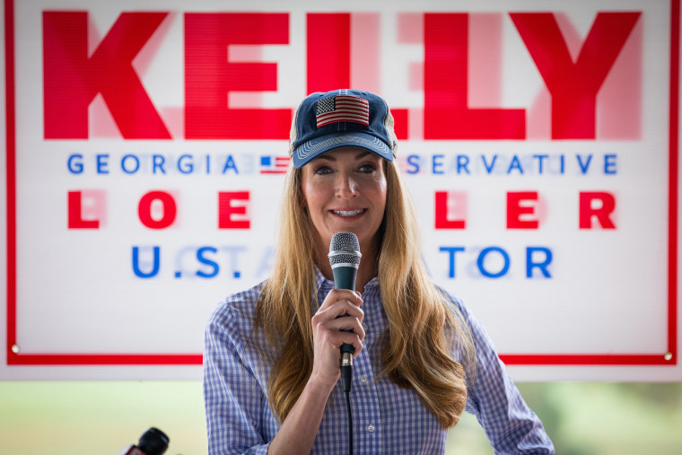 Image: Sen. Kelly Loeffler (R-GA) speaks after being endorsed by Georgia Republican House candidate Marjorie Taylor Greene during a joint press conference