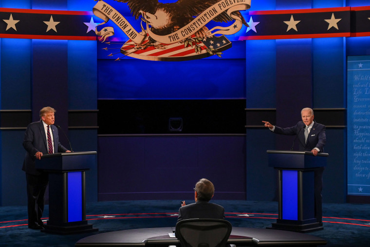 Image: President Donald Trump and Democratic Presidential candidate Joe Biden exchange arguments during the first presidential debate at Case Western Reserve University and Cleveland Clinic