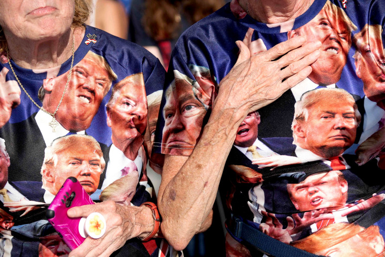Image: Supporters listen to President Donald Trump during a campaign rally in Ocala, Fla., on Oct. 16, 2020.