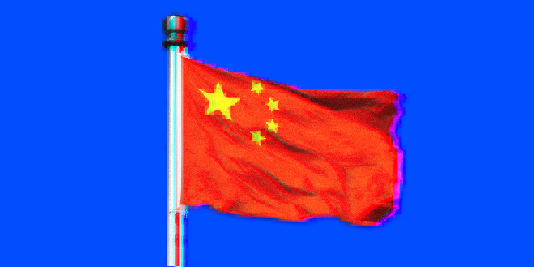 Image: A Chinese flag, glitchy and pixelated.