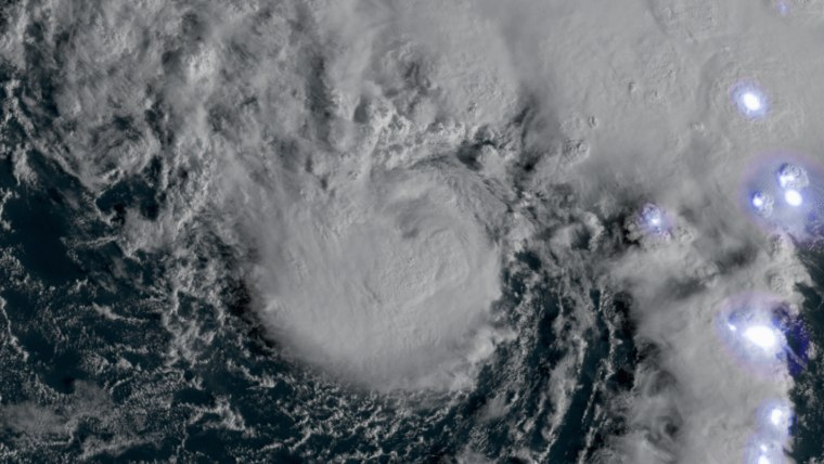 Image: Tropical storm Epsilon strengthens to a hurricane in Atlantic