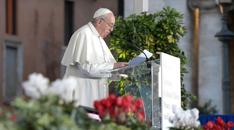 Pope Francis speaks at the Basilica of Santa Maria in Aracoeli during an inter-religious ceremony for peace in Rome's Capitoline Hill on Tuesday.