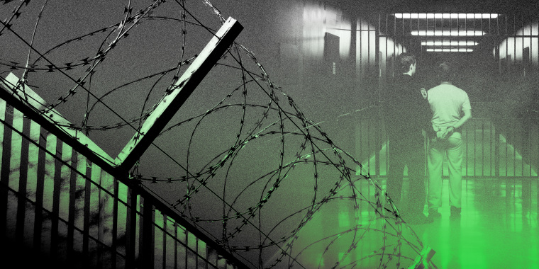 Image: Barbed wire fence and a prisoner being walked through a hallway overlayed with green.
