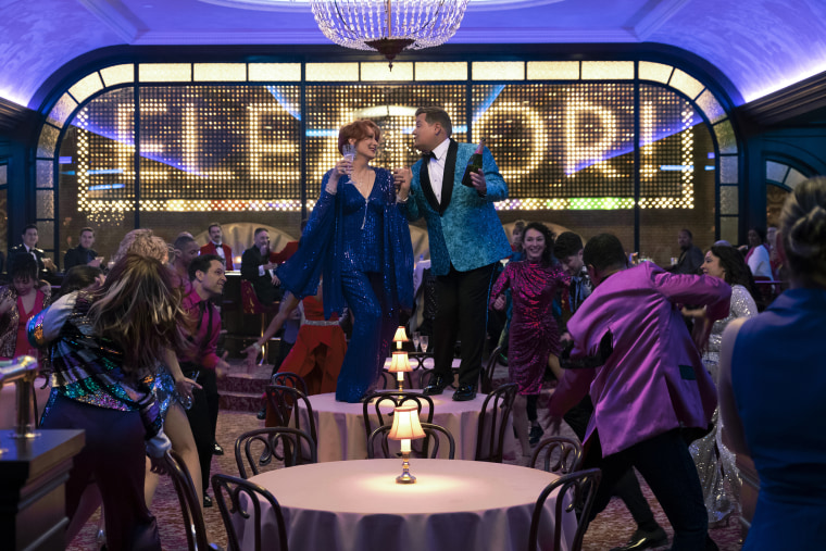 """Meryl Streep and James Corden in a  scene from """"The Prom."""""""