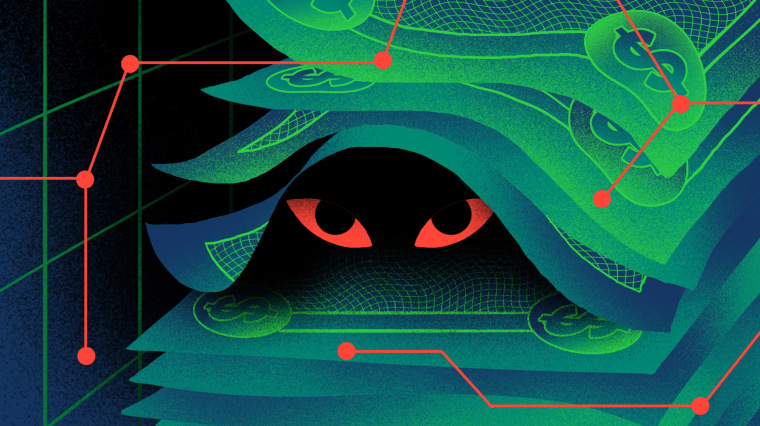 Image: Evil eyes look out from under a stack of digitized dollar bills.