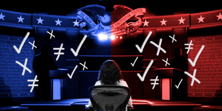 Image: Moderator watches over the debate stage which is divided into red and blue colored overlays. Scribbled check marks and crosses surround the silhouettes of the two debaters on stage.