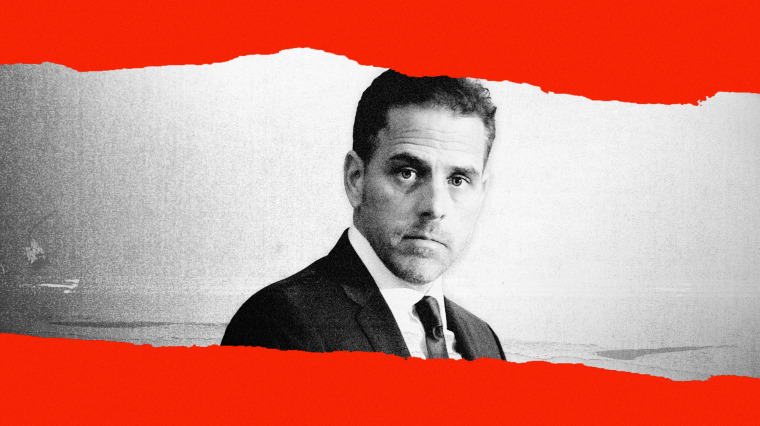 Image: Hunter Biden on a torn out piece of paper on a red background.