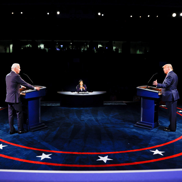 Image: U.S. President Trump and Democratic presidential nominee Biden participate in second debate in Nashville, tennessee