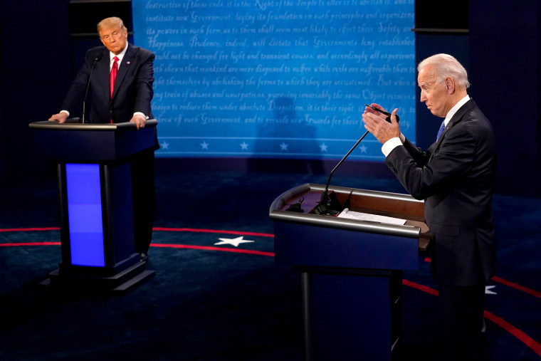 Image: Donald Trump And Joe Biden Participate In Final Debate Before Presidential Election