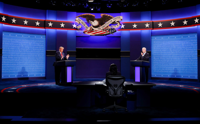 Image: President Trump and Democratic presidential nominee Biden participate in their second debate in Nashville