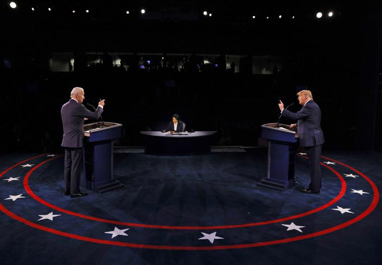 President Donald Trump and Democratic presidential nominee Joe Biden at the final presidential debate at Belmont University on Oct. 22, 2020 in Nashville, Tenn.