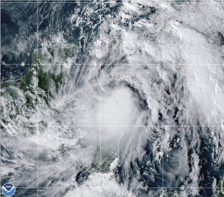 This satellite image provided by the National Oceanic and Atmospheric Administration shows Tropical Storm Zeta on Sunday.