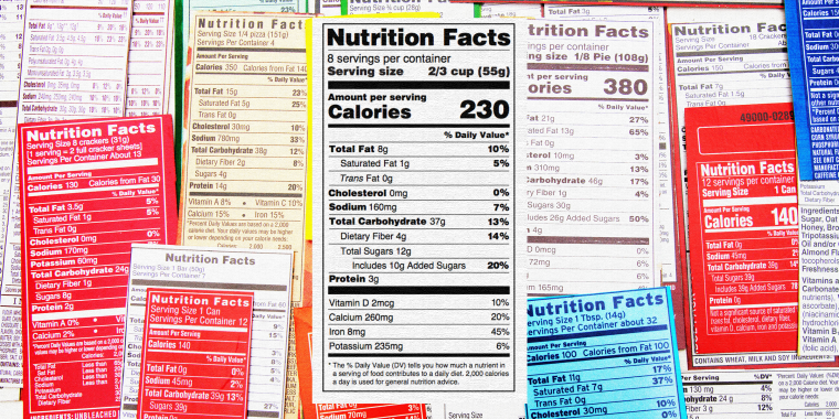Nutrition label collage of multiple packaging labels