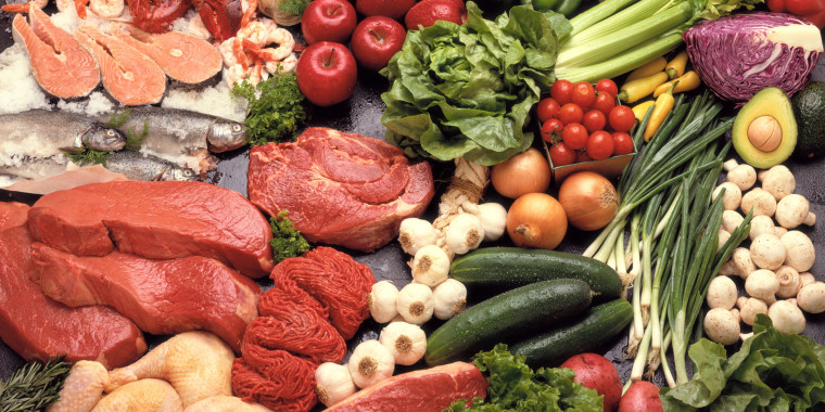 Arrangement of raw meat and produce