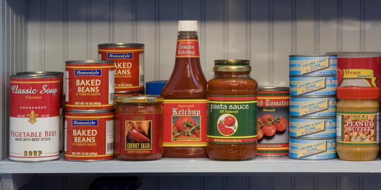 Food items on pantry shelves