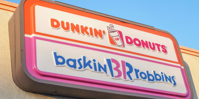A view of Dunkin' Donuts and Baskin-Robbins store logo. The