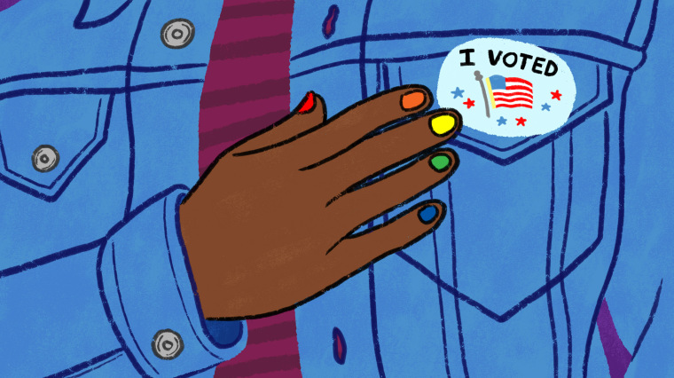 """Illustration of person with rainbow painted nails touching their \""""I Voted\"""" sticker."""