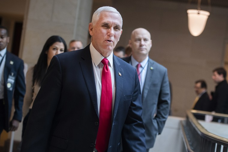 Image: Vice President Mike Pence and his chief of staff Marc Short, right, arrive for a meeting of the House Republican Conference in the Capitol Visitor Center.