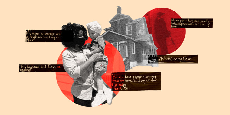 Image: Superimposed images of Jennifer McLeggan wearing a mask and holding her daughter against an orange circle, silhouette of a house and a red circle showing a man with a gun leaning against a wall.