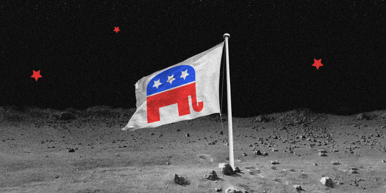 Image: A flag with the GOP elephant, three white stars on the blue hump, rest of the body in red, on the surface of the moon with three red stars in the sky