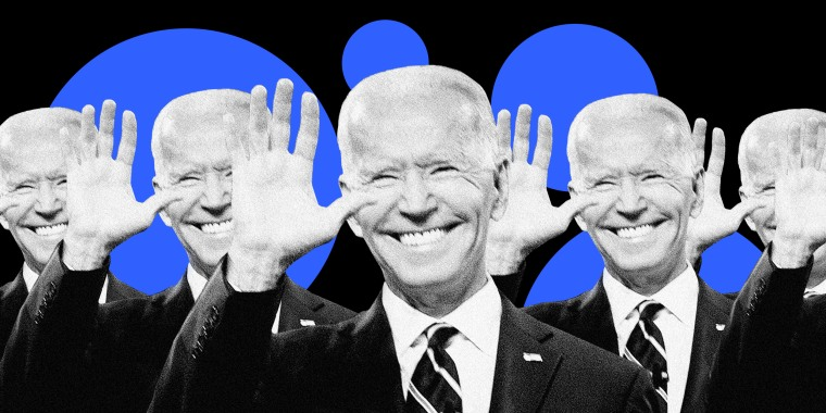 Image: A lot of smiling Joe Biden's wave on a background of blue circles.