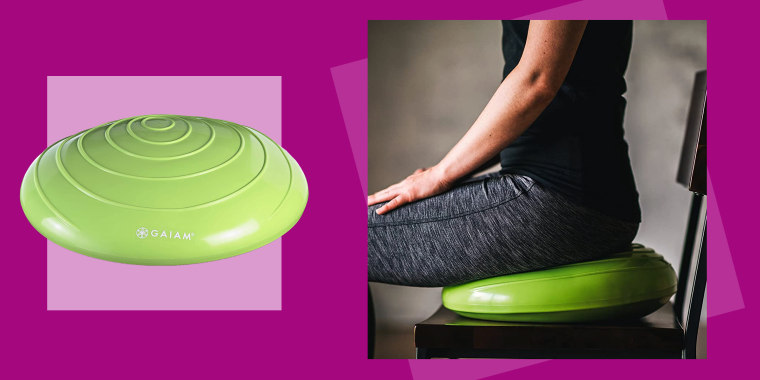 """""""Admittedly, the disc looks a little weird at first,"""" writes Claire Tighe, an associate producer for the NBC News and MSNBC podcast """"Into America."""" But the Gaiam Balance Ball """"is a solid work-around for what would otherwise be an expensive purchase: a new office chair."""""""