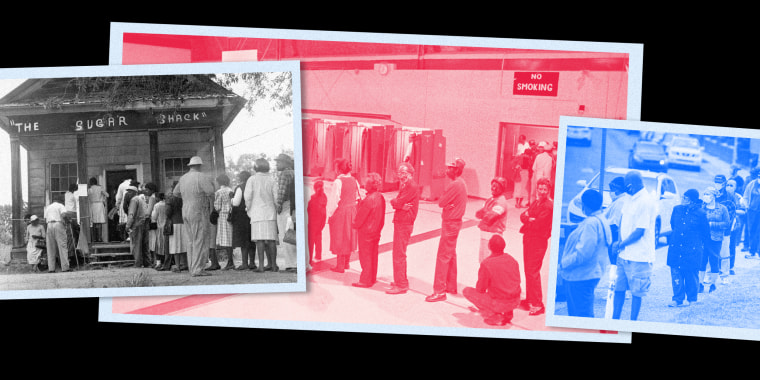 Image: Three photographs of voters lining up placed over each other form one long line.