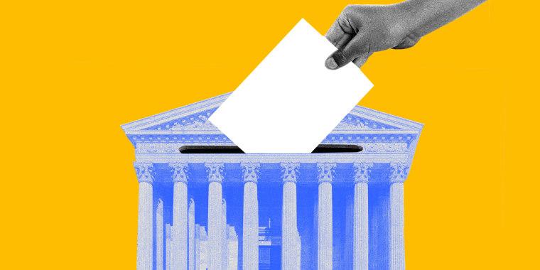 Image: A hand drops a ballot into a Supreme Court shaped box
