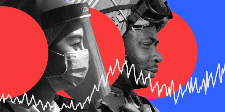 Image: Profiles of a healthcare worker with a face shield and a soldier