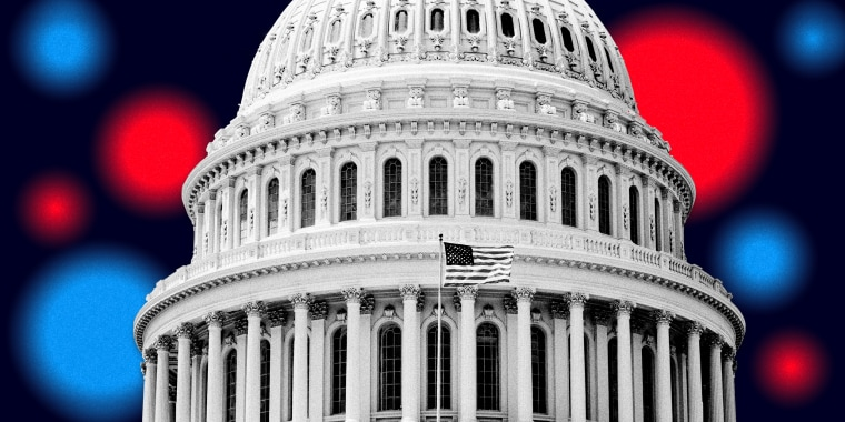Image: The Capitol dome on a navy background with blurry red and blue circles.