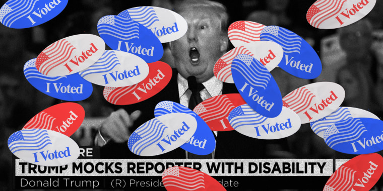 "Image: A screengrab of a news broadcast with Trump is covered with red and blue ""I Voted"" stickers.The headline reads: Trump mocks reporter with disabilty."
