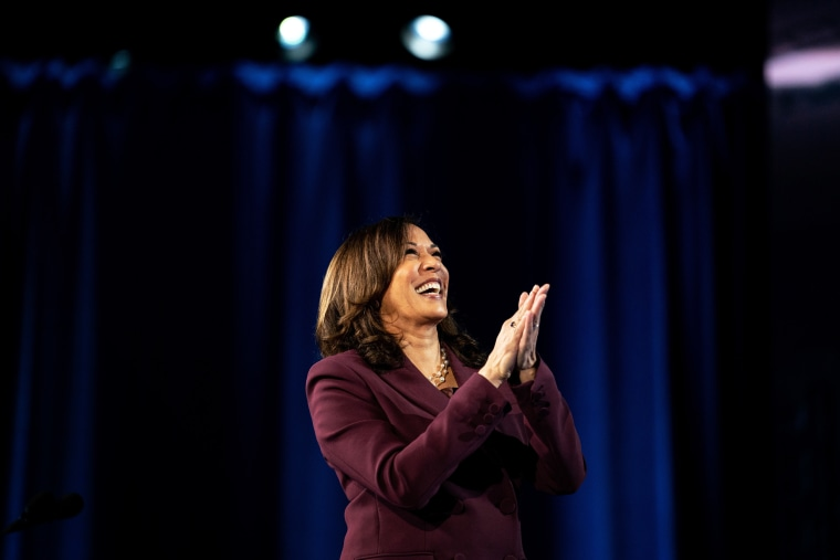 Image: Kamala Harris accepts the Democratic nomination for Vice President in Wilmington, Del., on Aug. 19, 2020.