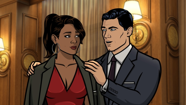 "Gabrielle, voice of Nicole Byer, and Sterling Archer, voice of H. Jon Benjamin, in an episode of ""Archer."""