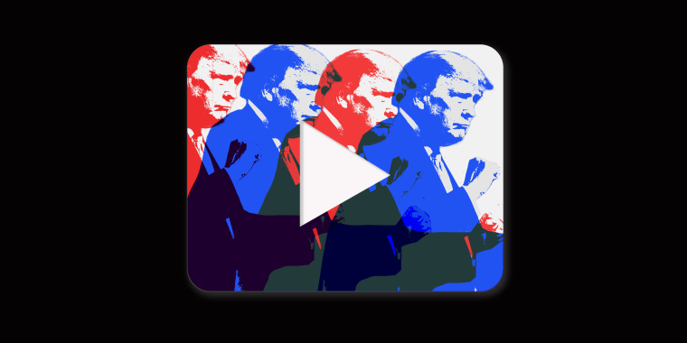 Image: A play button with overlapping red and blue silhouettes of Trump dancing