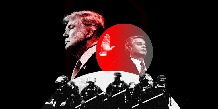 Image: Overlapping silhouettes of Trump, Christoper. A. Wray loom over a troop of police officers.