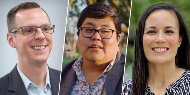 LGBTQ candidates, from left, Jon Hoadley, Georgette Gomez and Gina Ortiz Jones.