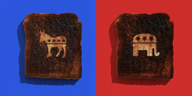 Image: Two burnt toast with the GOP and Democrat part symbol carved into each against blue and red bacckgrounds.