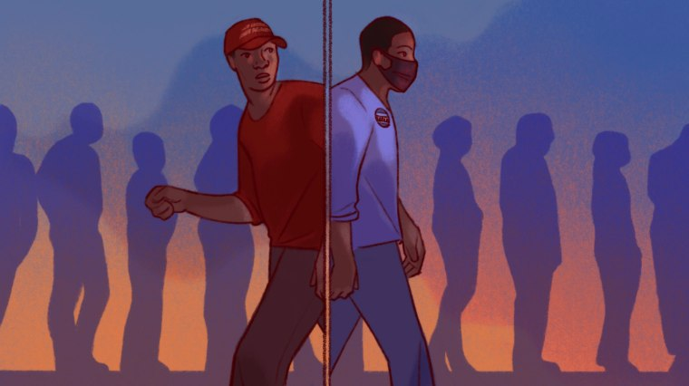 Image: A MAGA hat-wearing Black voter back to back with a liberal, Democrat pin-wearing Black voter with a line of voters in silhouette in the background.