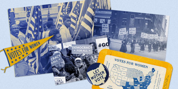 Image: Juxtaposed images of people marching with flags and protest posters. Badges and cards read: Let Mother vote, Votes for Women.