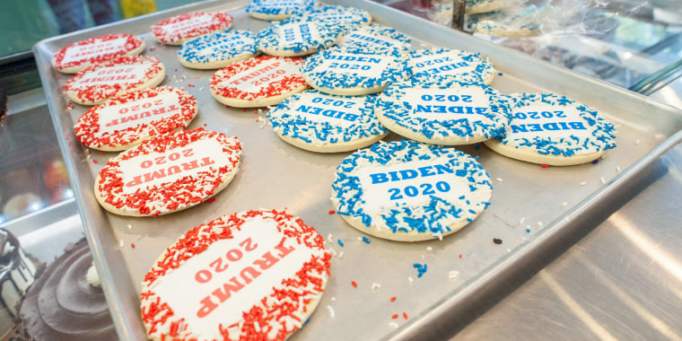 Hatboro, United States. 01st Oct, 2020. Biden and Trump cookies await to be sold as part of their poll Thursday, October 01, 2020 at Lochel's Bakery in Hatboro, Pennsylvania. Each cookie sold counts for one vote for a candidate, Trump or Biden. At the mom