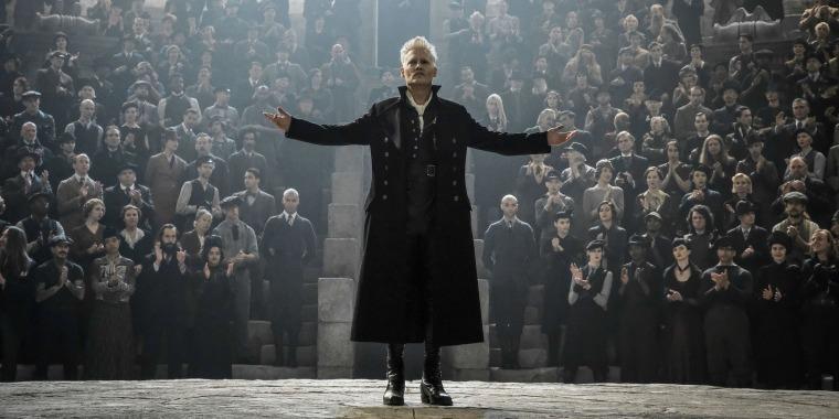 Johnny Depp in Fantastic Beasts: The Crimes of Grindelwald, 2018.