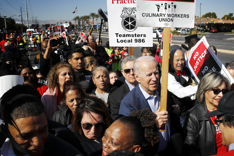 Image: Joe Biden joins the picket line with the Culinary Workers Union outside the Palms Casino in Las Vegas on Feb. 19, 2020.