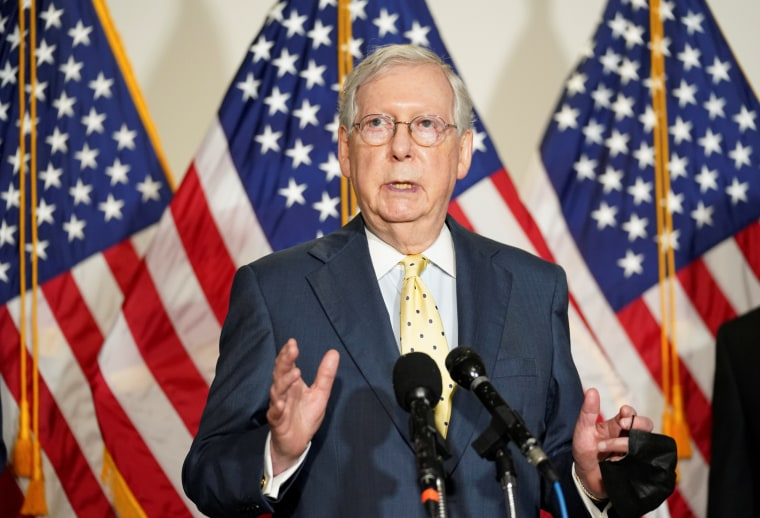 Image: Mitch McConnell speaks at the U.S. Capitol in Washington