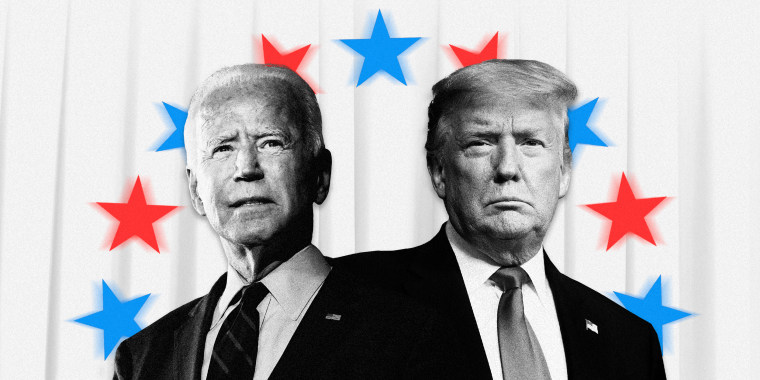 Image: Joe Biden and President Donald Trump on a white curtain background with a circle of red and blue stars around them.