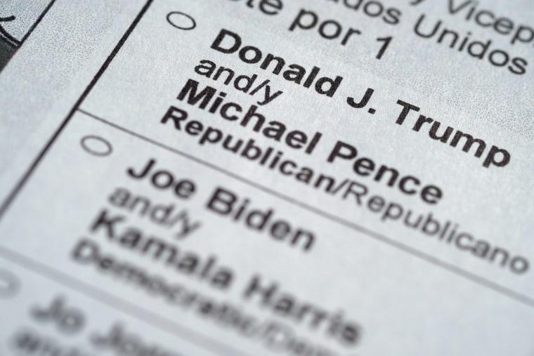 IMage: President Donald Trump and his main contender, Democratic presidential candidate Joe Biden