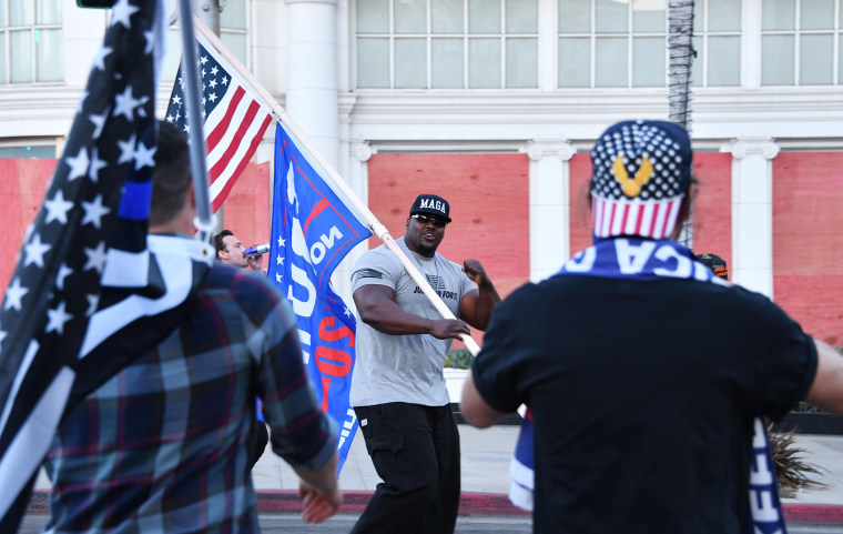 Image: A supporter who goes by the name MAGA Hulk at a pro-Trump demonstration in Beverly Hills