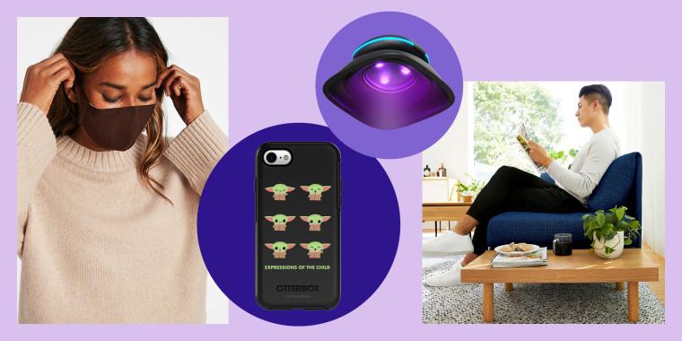 Otterbox Starwars Mandalorian collaboration; HoMedics UV Sanitizer; Burrow couch; coronavirus face masks from Banana Republic; Amazon Dash Shelf; new Adidas collaboration with Wolford athleisure workout clothes